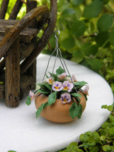 Miniature Dollhouse FAIRY GARDEN Accessories ~ Hanging Pot w Pink Pansy Flowers