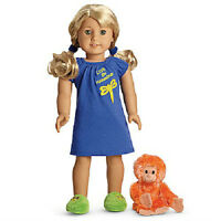 American Girl Lanie's Blue Nightgown Slippers Orangutan Pajamas For Lanie Doll