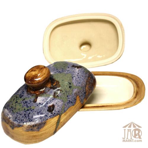 Butterdose handbemalte Keramik Butterglocke für 250 g Butter Gefäß Dose groß