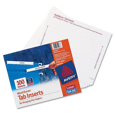 Avery Laser/inkjet Hanging File Folder Inserts, 1/3 Tab, 3 1/2, White, 100/pack