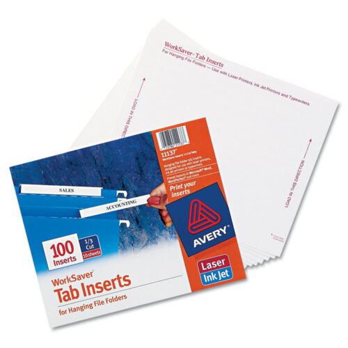 White Avery Laser//inkjet Hanging File Folder Inserts 100//pack 3 1//2 1//3 Tab