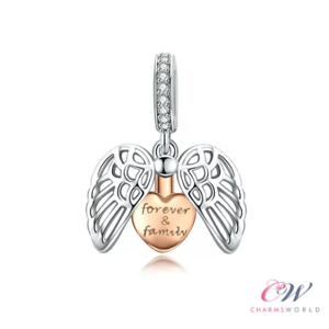 Rose-Gold-Engel-Fluegel-Familie-Charm-925-Silber-Weihnachtsgeschenk-Mum-Freund