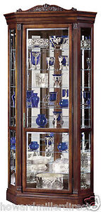 Howard Miller 680-290 Embassy ll - Large Lighted Cherry Corner Curio Cabinet