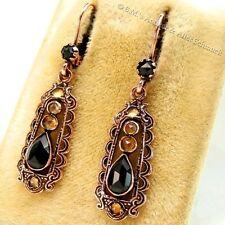alte 2,2ct Onyx Citrin Ohrringe 585er Gold / Rotgold auf 935er Silber Ohrhänger