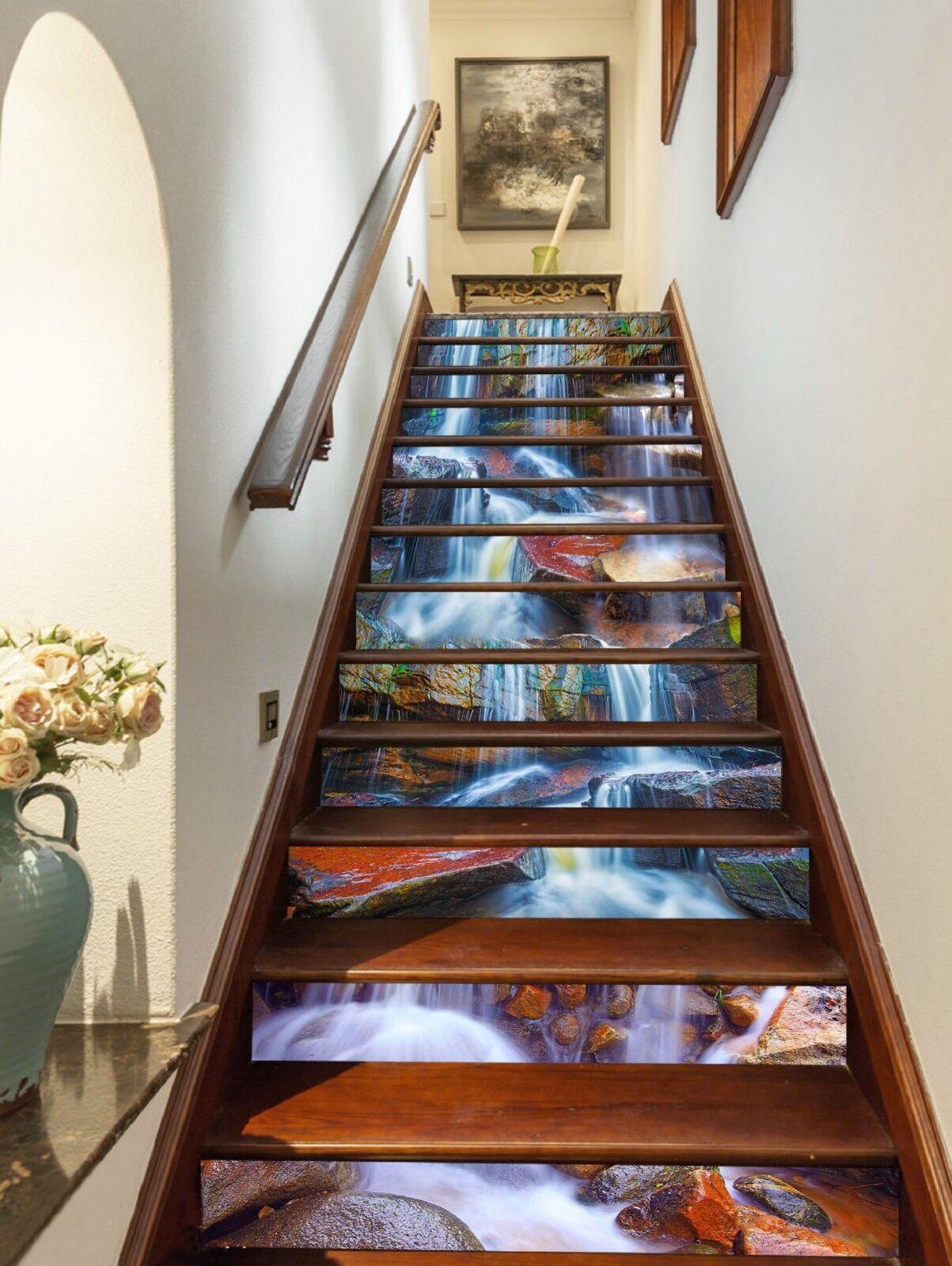 3D Felsiger Bach 30 Stair Risers Dekoration Fototapete Vinyl Aufkleber Tapete DE