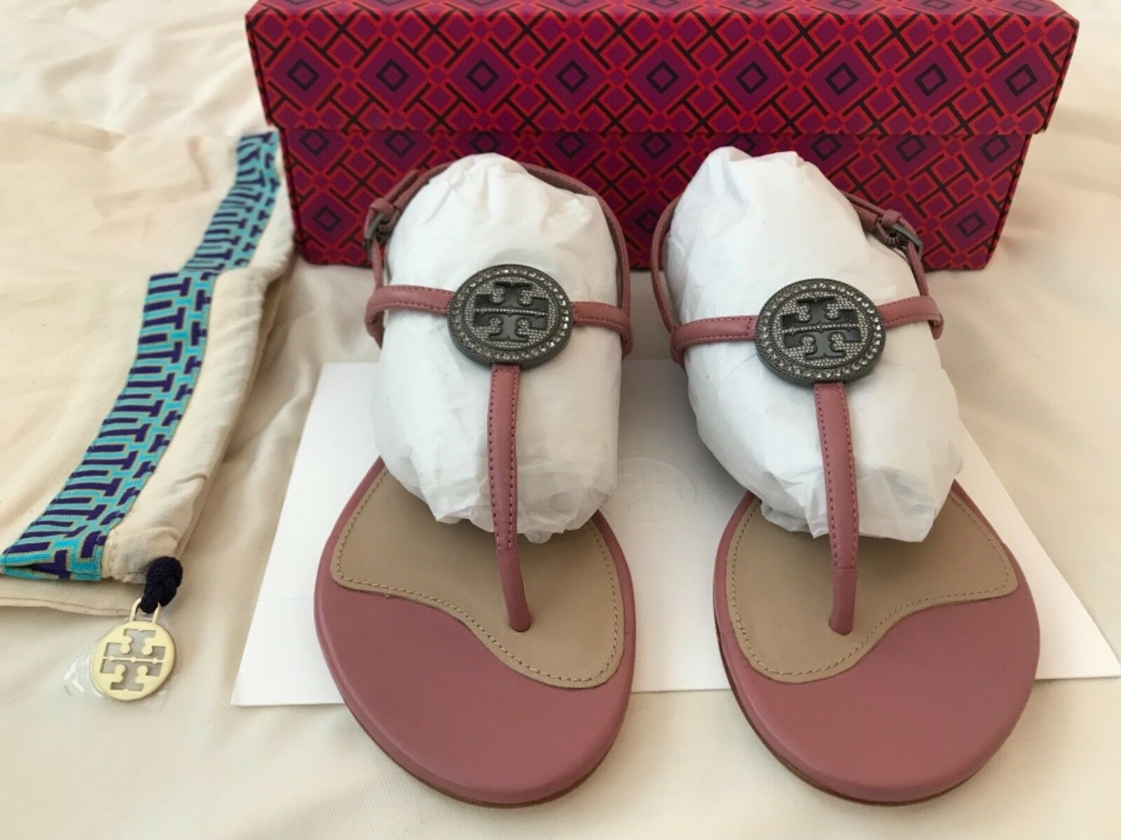 Tory Burch Liana Flat Flat Flat Sandals Magnolia Size 6 49907e
