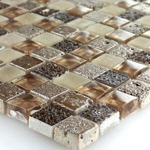 Muster glas naturstein mosaik fliesen braun beige mix 4250600578843 ebay - Crystal mosaik fliesen ...
