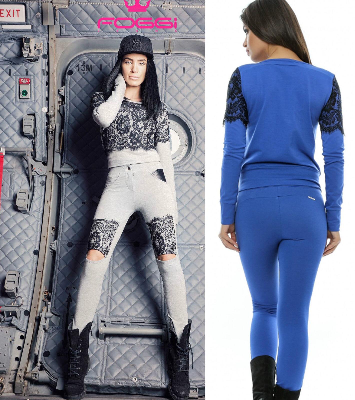 Foggi 2-Divisorio Casa Tuta Donna Pantaloni Pullover da Donna maglietta Pizzo Blu Grigio XS-M