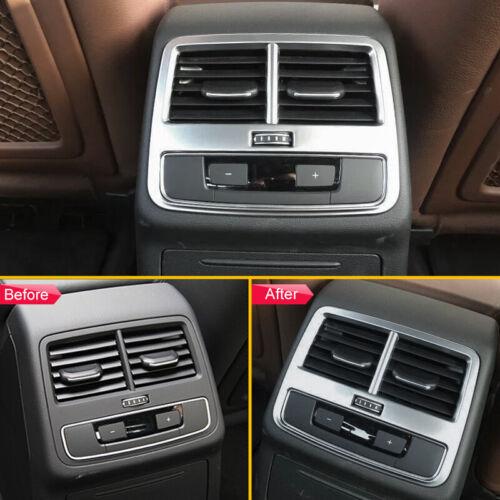 Matte Chrome Interior Armrest Box Rear Air Vent Cover Trims For Audi A4 A5 B9 F5