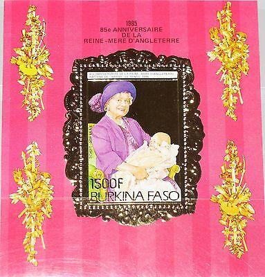 Unparteiisch Burkina Faso 1985 Block 101 A Queen Mother 85th Birthday Royals Gold Foil Mnh Afrika