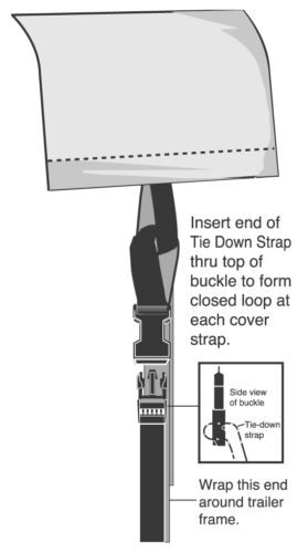 Straps-Tie Down Kit 10 Pack 10/' length Attaches to almost any boat cover