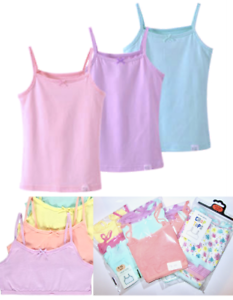 5 Pack of Girls White 100/% Cotton Cami-Vests