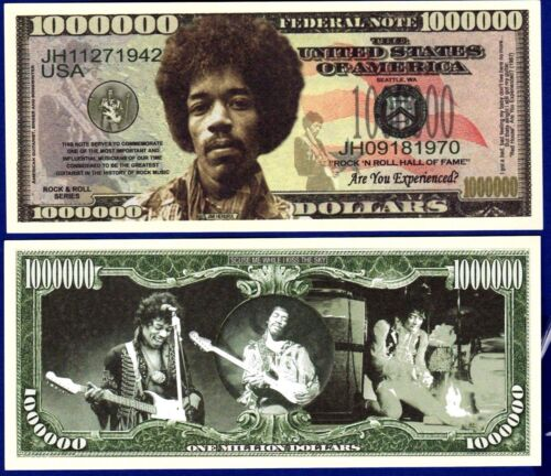 Collectible Jimi Hendrix Million Dollar Bills  Novelty FAKE Music ITEM-P 5