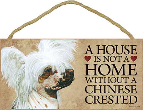 Chinese Crested Wood Sign Wall Plaque 5 x 10 Bonus Coaster
