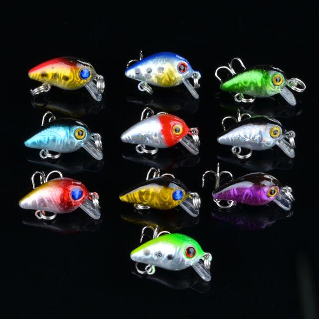 1/10pcs Mini Crank Fishing Lure CrankBait Hard Baits Bass Tackle 2.6cm/1.6g Bulk Sporting Goods