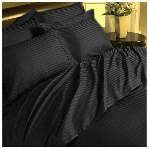 Egyptian Cotton Black Striped Bedding-Items//Duvet//Fitted Choose Size,Item 1000TC