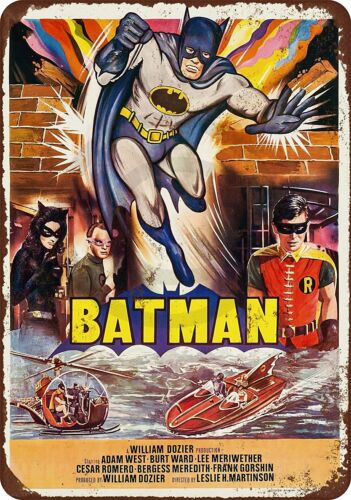"""1966 Batman Movie Vintage Rustic Retro Metal Sign 8/"""" x 12/"""""""