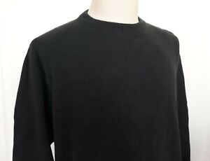 Eddie-Bauer-Men-039-s-Large-Black-Cotton-Knit-Pullover-Sweater-Crew-Neck-NICE