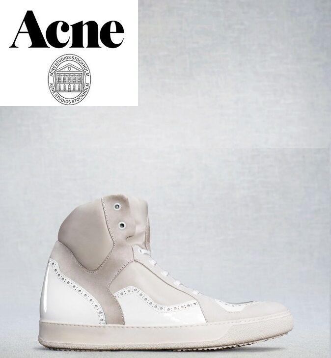 Acne LudFaible blanc High Top mode En Cuir paniers avec poubelles-UK 11 EUR 45
