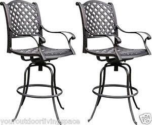 Patio-bar-stool-outdoor-living-cast-aluminum-furniture-set-of-2-swivels-Bronze