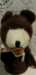 Vntg-Teddy-Bear-Hand-Puppet-Dark-Brown-Rayon-Plush-Movable-Mouth-8-5-034-Tall-Japan