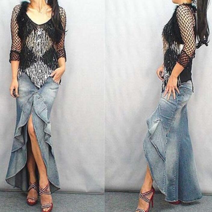 Womens Sexy Fishtail Skirt Smart Casual  Lotus Leaf Splice Slim Denim Skirts Hot
