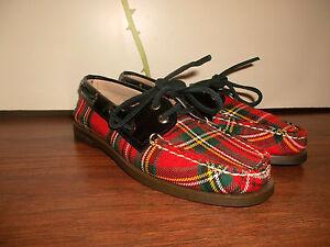 vintage-Schuhe-Sperry-top-sider-slipper-Karomuster-rockabilly-punk-oldschool