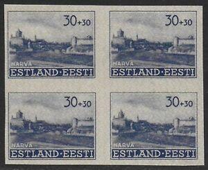 Estonia-1941-Occupation-Narva-Castle-30k-30k-Blue-IMPERF-BLOCK-NB3-F-VF-NH