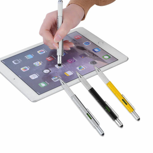 5pc 6 in1 Touch Screen Stylus Ballpoint Pen with Spirit Level Ruler Screwdriver