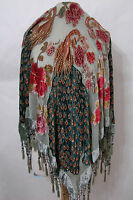 Vintage Aris A Burn-out 100% Silk Sage Green Peacock Hand Beaded Piano Shawl