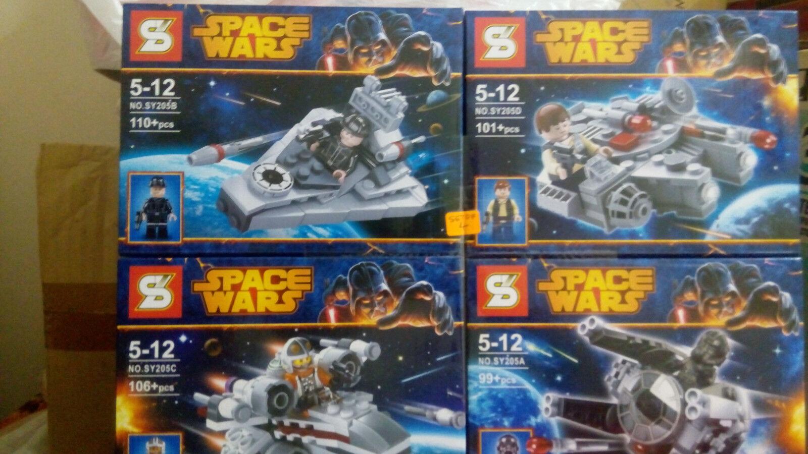 Star wars Space Wars 4 Set Microfighters vaisseau spatial, démarrageleg Minifigures.