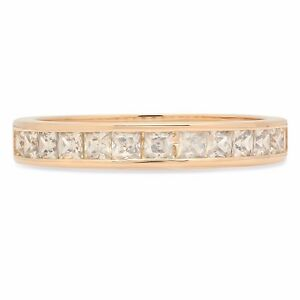 2-10ct-Princess-Cut-Wedding-Bridal-Channel-Setting-Stacking-Band-14K-Yellow-Gold