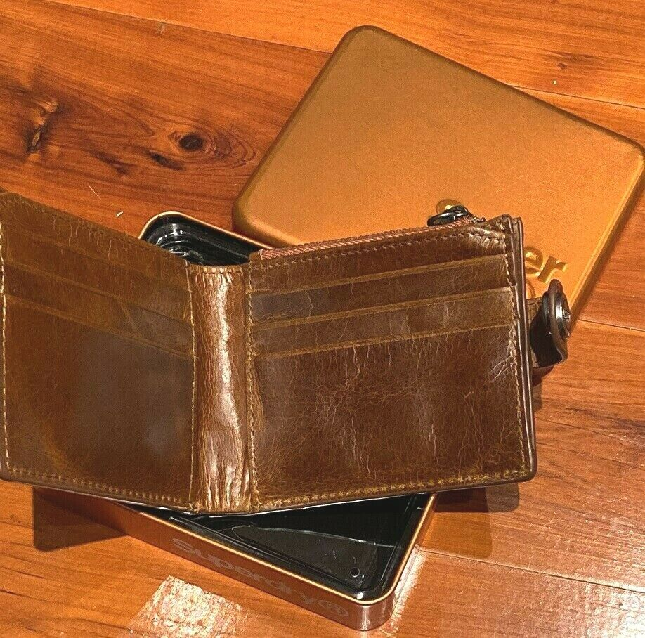 Superdry Profile Leather Wallet In A Tin NWT