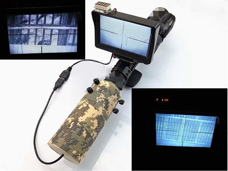 Day Night Use Rifle Scope Add On DIY Night Vision Scope w  LCD Monitor IR Torch