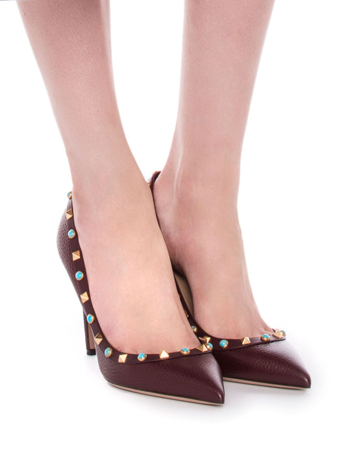 1095 NEW Valentino Rockstud 36.5 Rolling Grained Leather Pointy Pumps Burgundy