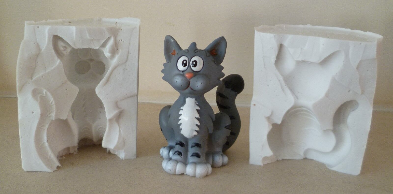 3D CARTOON CAT SILICONE MOULD FOR CAKE TOPPERS CHOCOLATE CLAY ETC