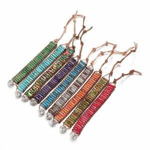 Multicolor-7-Armband-Chakra-Folien-aus-Leder-Armband-mit-Tube-Beads-Yoga-Bangle