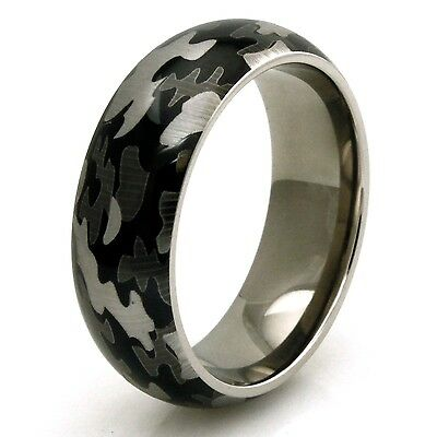 Men's Titanium Snow Camouflage Camo Design Engravable Wedding Band Ring