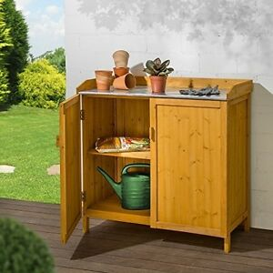 Image Is Loading Outdoor Wooden Cabinet Storage Galvanised Worktop Plant Potting