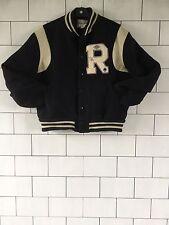 Reebok unisex vintage con USA Nero Letterman Varsity Jacket Bomber Cappotto