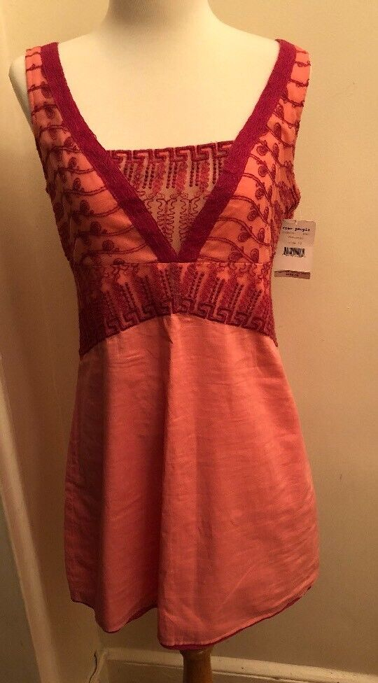New  128 Free People Embroidered  Dress Medium Size 12