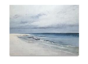 Large-Beautiful-art-of-blue-gray-seascape-ocean-white-sand-beach-amp-waves-36x48
