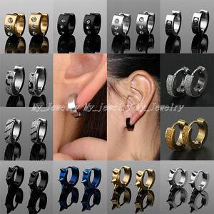 Punk-Hoop-Huggie-Studs-Cuff-2PCs-Stainless-Steel-Men-Women-Earrings-Gold-Silver