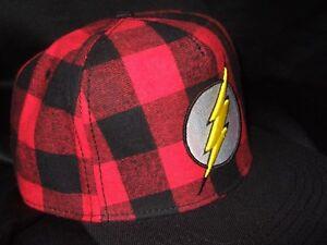 New-DC-Comics-The-Flash-Lightning-Bolt-Hero-Red-Plaid-Baseball-Snapback-Hat-Cap