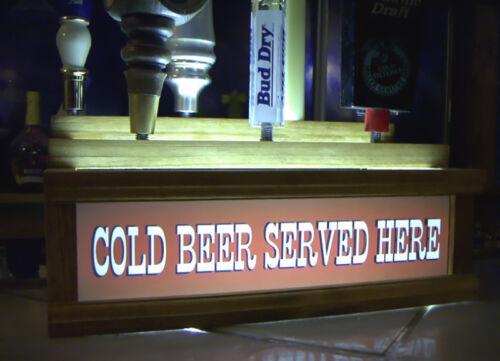 "/""Cold Beer Served Here/"" western font 7 beer tap handle display"