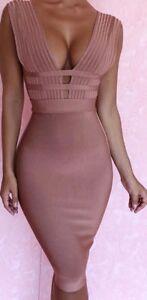 New-Womans-Ladies-Rayon-camel-Mara-Bandage-Dress-celeb-style-size-6-8-10-12