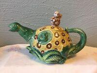 Rare Vintage Fitz & Floyd Monkey Ondinosaur Glazed Ceramic Teapot 1993
