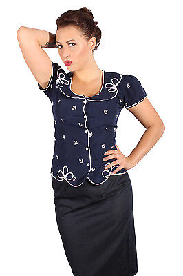Sailor ANKER Schleifen Rockabilly Retro Bluse Shirt marineblau