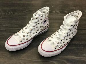 Converse-All-Star-Chuck-Taylor-scarpe-uomo-donna-alte-BORCHIATE-white-tela