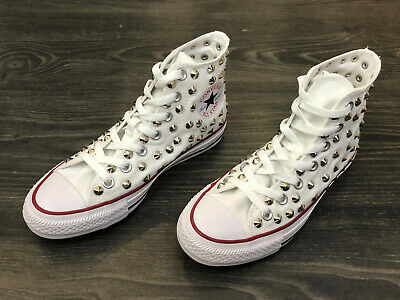 Converse All Star Chuck Taylor Chaussures Hommes Haute Femme Cloutée Blanc Toile | eBay